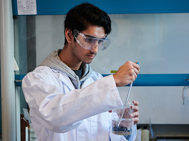 Student in Chemistry class