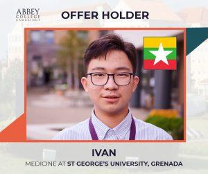 Abbey College Cambridge Offer Holder Min Myat San (Ivan)