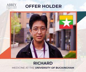 Abbey College Cambridge Offer Nyan Lin Khant (Richard)